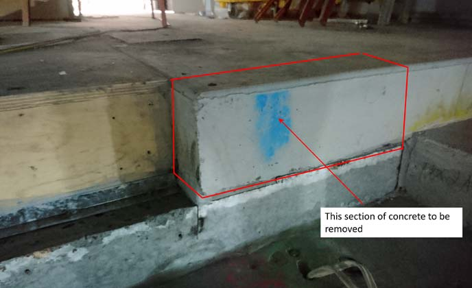 Stadium stepped concrete floor removal