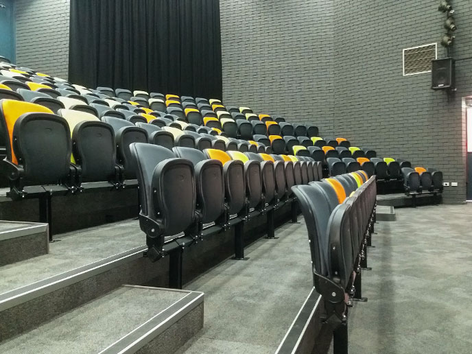 School branded coloured folding seats, heavy duty carpet & high-vis capping for the stepping were installed