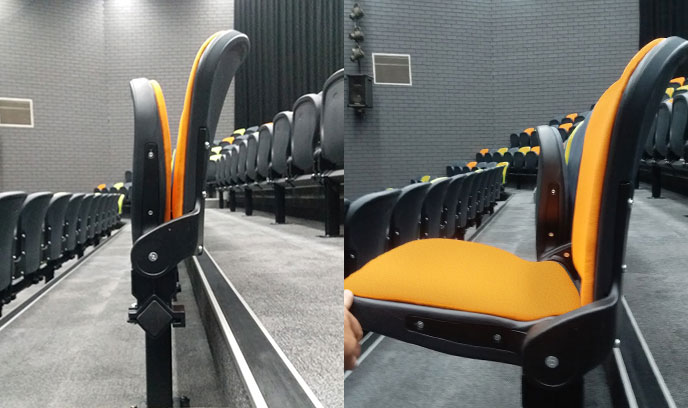 Wider isle access was created with the Optimal 360 folding seats