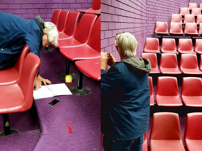 Measuring complex site lines and angles at the drama auditorium