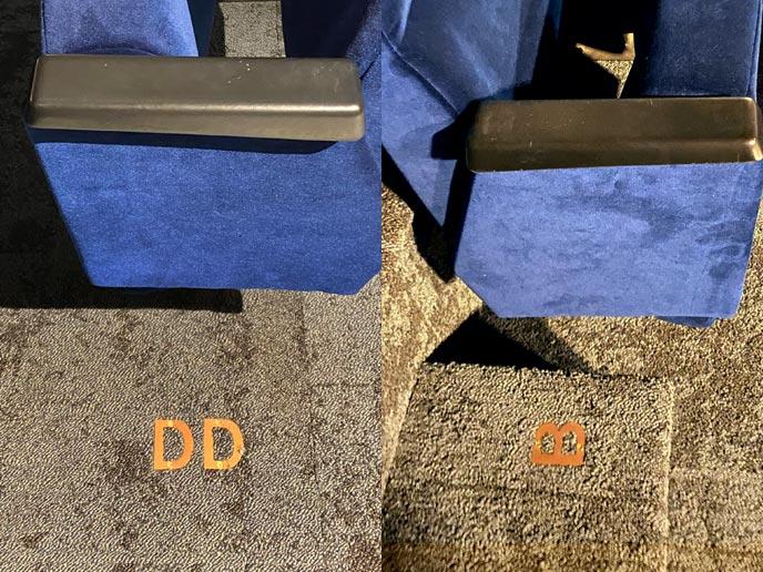 Auditorium seating isle lettering