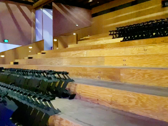 A close up view of the RHS dress circle balcony with the frames removed in readiness for storing